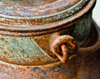 Kitchen dairy art shabby chic milk can jug rust patina handle lid gift farm vintage orange green - Before the bottle - fine art photograph