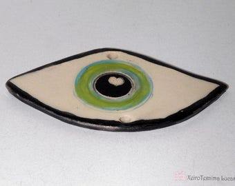 Handmade Ceramic Eye Tile 13cm  Love Eye - Green Eye Ornament - Blue Eye Ornament - Ceramic Decoration for Good Luck - Handpainted