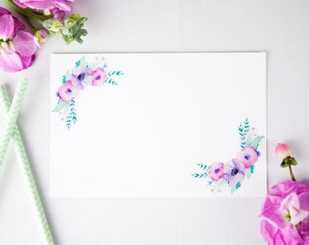 Baby Shower printables 4x6 blank note card, perfect for baby shower games, bridal shower note cards - floral party decor, watercolour decor