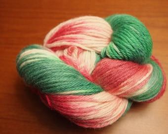 Handpainted Yarn Wool STOCKING 210yds 3.5oz Worsted Weight Aspenmoonarts Hand Painted Merino Corriedale