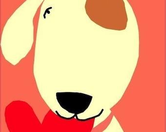 Valentine card greeting card sweet dog I love you illustration