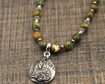 Green deer necklace, fawn and doe with rhyolite beads, pure love 18 3/4 inches long
