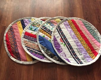 Quilted Round Striped Place Mats - Hand Pieced- Machine Quilted - Set of Four