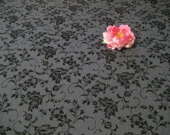GREY FLORAL FLOCKED Fabric-59 Inches Wide-Four Yards Available-Sold By the Yard-Cotton Woven Blend-Premium Quality