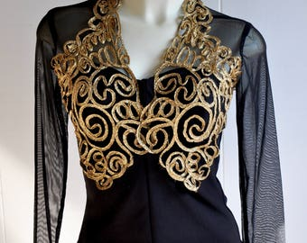 Black and Gold Curlicue Satouche Noir Pin-up Top with Sheer Mesh/Tulle Sleeves and Zippered Back Goth/Glam/Couture