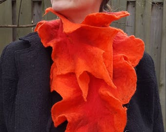 Felt Scarf Flaming Orange Red Merino Wool Felt Scarf Enchanted Faerie One Of A Kind Wearable Art