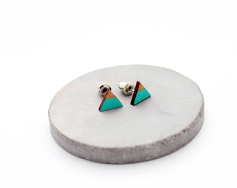 Triangle geomeric stud earrings - mint, gold - minimalist, modern hand painted wooden jewelry