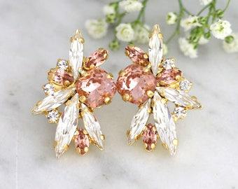 Blush Earrings, Bridal Blush Earrings, Morganite Bridal Earrings, Bridesmaids Earrings, Swarovski Pink Blush Crystal Bridal Earrings.