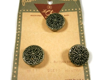 3 Silver Filigree Twinkle Buttons on Store Card, Mirror Back Metal Buttons, Set of Three Buttons