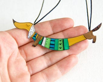 Dachshund dog necklace, Animal jewelry, green jewelry, gift for her