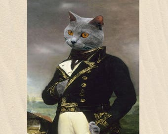 personalized cat portrait, cat dressed in general Beauharnais