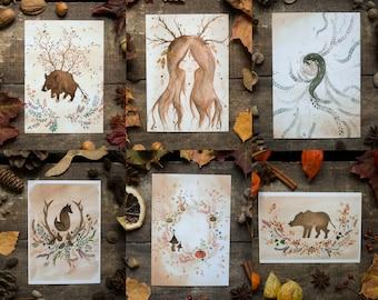 6 Postcards pack - Nature spirits