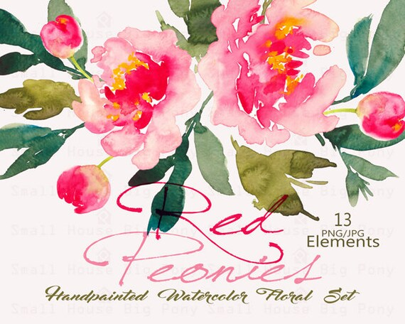 Watercolour Floral Clipart. Handmade, watercolour clipart, wedding diy elements, flowers - Red Peonies - 13 Elements