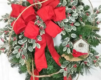 Christmas Wreath, Holiday Wreath, Winter Wreath, Christmas Wreath with Birdhouse and Cardinal, Christmas Door Decor, Holly Wreath