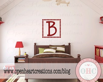 Polka Dot Square Wall Decal with Single Initial Monogram - Personalized Monogram Wall Decal - 22 x 22 inch square FI0004