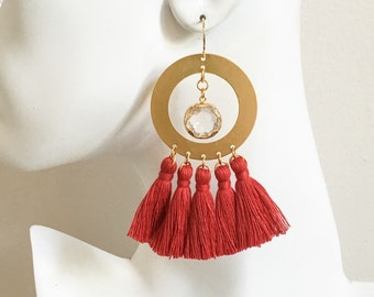 Large Red Tassel Hoop Earrings - Gold Hoop Tassel Earrings - Boho Statement Earrings - Gold Hoop Earrings - Fringe Hoo