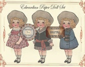 Paper Doll Set Printable Children's Party Favors Kid's Party Game Edwardian Vintage Toy Hat Dresses Mary Jane Shoes Coat Blue Sailor Suit