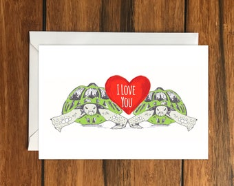 I Love You Tortoise greeting card A6 One Card and Envelope Valentine's Romantic