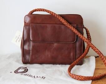Vintage A. Brandi Leather Handbag New with Tag / Jacobson's Whiskey Brown Leather Shoulder Bag / Italian Leather Purse 121617-22