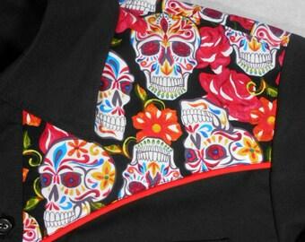 Roses, Flowers, Skulls, Day of the Dead, Dia de los Muertos, Sugar Skull, Western Shirt, Rockabilly, Small to 3xl