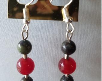 Carnilian, Bloodstone Earrings
