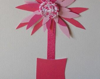 Original Handmade Pink White Dahlia Art Card