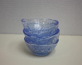 Vintage Blue Glass Dessert Bowls/Berry Bowls