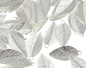 Silver Leaf Charms - 15mm x 7mm Silver Plated Leaf Drops -  Autumn Leaves Fall Jewelry Supplies