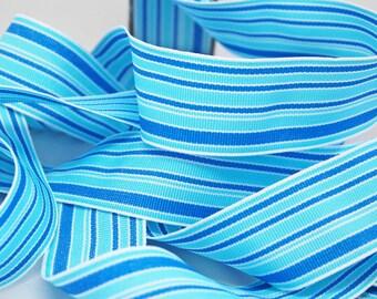 SALE Striped Grosgrain Ribbon -- 1.5 inches -- Sea of Blues Stripe