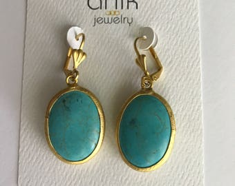 "Turquoise Earrings, Oval Shape Gold Bezel Turquoise , French Hook Ear Wires, Gold Plated Brass, 2"" Long"