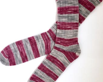 Handmade Wool Socks 457 -- Men's Size 12-14