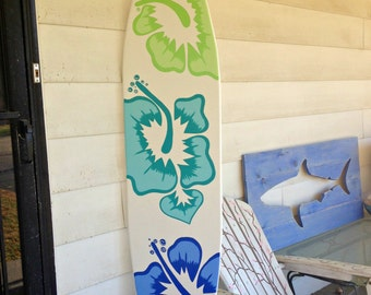 Awesome 6 Foot Surfboard Wall Art In White With Three Large Hibiscus Flowers Decor  Sign