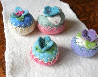 pincushion / hand embroidered / merino felt pincushion / size medium A / pink, turquoise and green