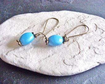 Oval turquoise blue ceramic Stud Earrings, vintage bronze hook. Handmade french.