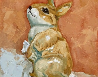 "Bunny Rabbit small still life ORIGINAL Oil Painting by Karen Barton 7""x5"""