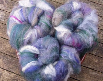 Hand Carded Batts, 115g total, spinning wool, merino, bluefaced leicester, teeswater locks, mohair locks, flax, textured batts, felting