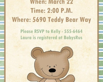 Teddy Bear Baby Shower Invitation, CUSTOM for YOU - 5x7 size - sweet teddy bear sample, green accents