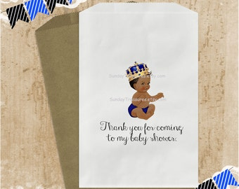 12Pk Royal Prince Baby Boy African American / Royal Blue Gold Crown / Candy Buffet Party Favor Bags Baby Shower Birthday (refvntg)