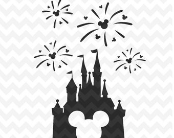 Disney Castle svg, Disney Castle Fireworks svg, Disney Castle with Mickey head, Disney files for Cricut and Silhouette