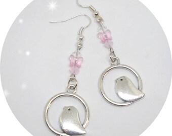 Birds and Swarovski crystals earrings