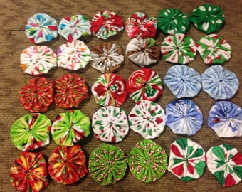 Fabric Yoyos, Christmas Fabric Yoyos, Fabric YoYos for Crafting, Christmas Yoyos, Christmas Crafting YoYos