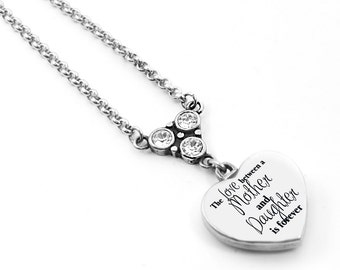 Mother and Daughter Engraved Heart Necklace, Gift for Mom, Gift for Daughter, Silver Engraved Heart, Mother Quote, choice of crystals