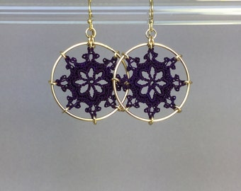 Nautical doily earrings, purple hand-dyed silk thread, 14K gold-filled