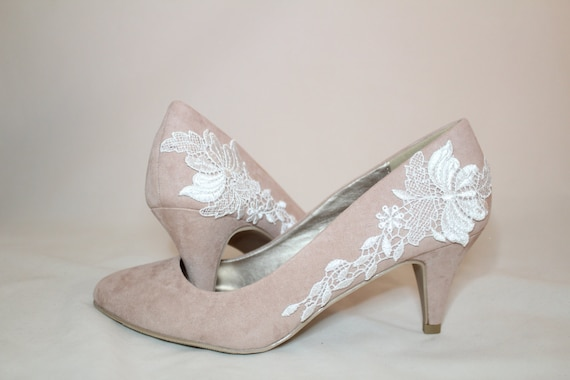 Pink Wedding Shoes Low Heel: Blush Pink Floral Lace Bridal Shoes