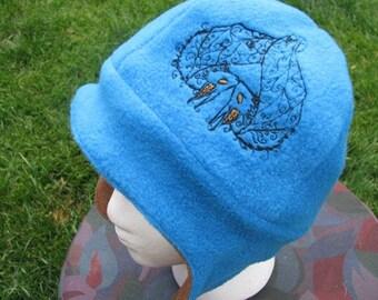 Batty Sweethearts Brown and Blue Fleece Ear Flap Hat