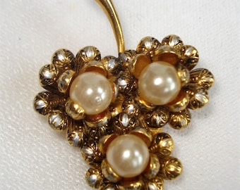 Vintage Damascene And Faux Pearl Flower Brooch Pin 1p UK Postage