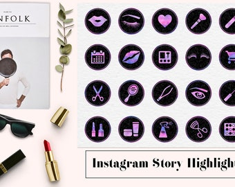 Instagram Story Highlight Icons, Black Marble And Watercolor Icons, Makeup Artist Insta Icons, Watercolour & Marble Insta Stories, BUY5FOR8