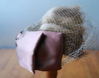 Vintage Mink Hat with Netting Veil and Satin Bow - 1960's - Topper - Fascinator - Glam - High Fashion
