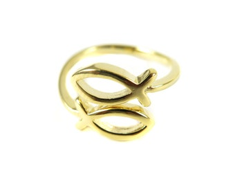 Gold Plated Adjustable Double Fish Ring (1x) (K756)