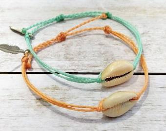 Cowrie Shell Bracelet, Wax Cord Bracelet, Waterproof Bracelet, Adjustable Friendship, Boho Surfer Bracelet, Stackable Beach Bracelet